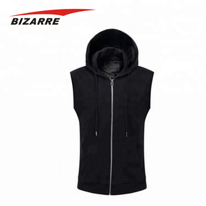 Mens cheap manufacture quality custom sleeveless pullover hoodies