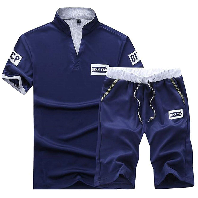 Jaycargogo Mens Sweatsuit Casual Zip Front Jacket Joggers Tracksuit Outfit Black XXL