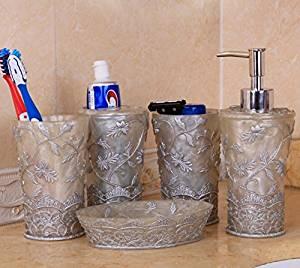 M&CBathroom toiletries set of five Toothbrush holder Soapbox Lotion Bottle Tumbler , 2
