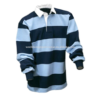 Men's cotton sky and navy striped long sleeve rugby shirt