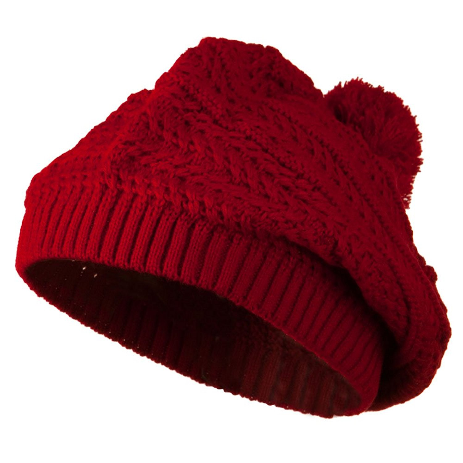 Slinky Knit Beret with Pom Pom - Red W24S27F