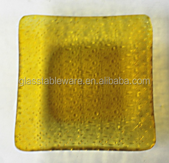 square light yellow colored tempered glass plate