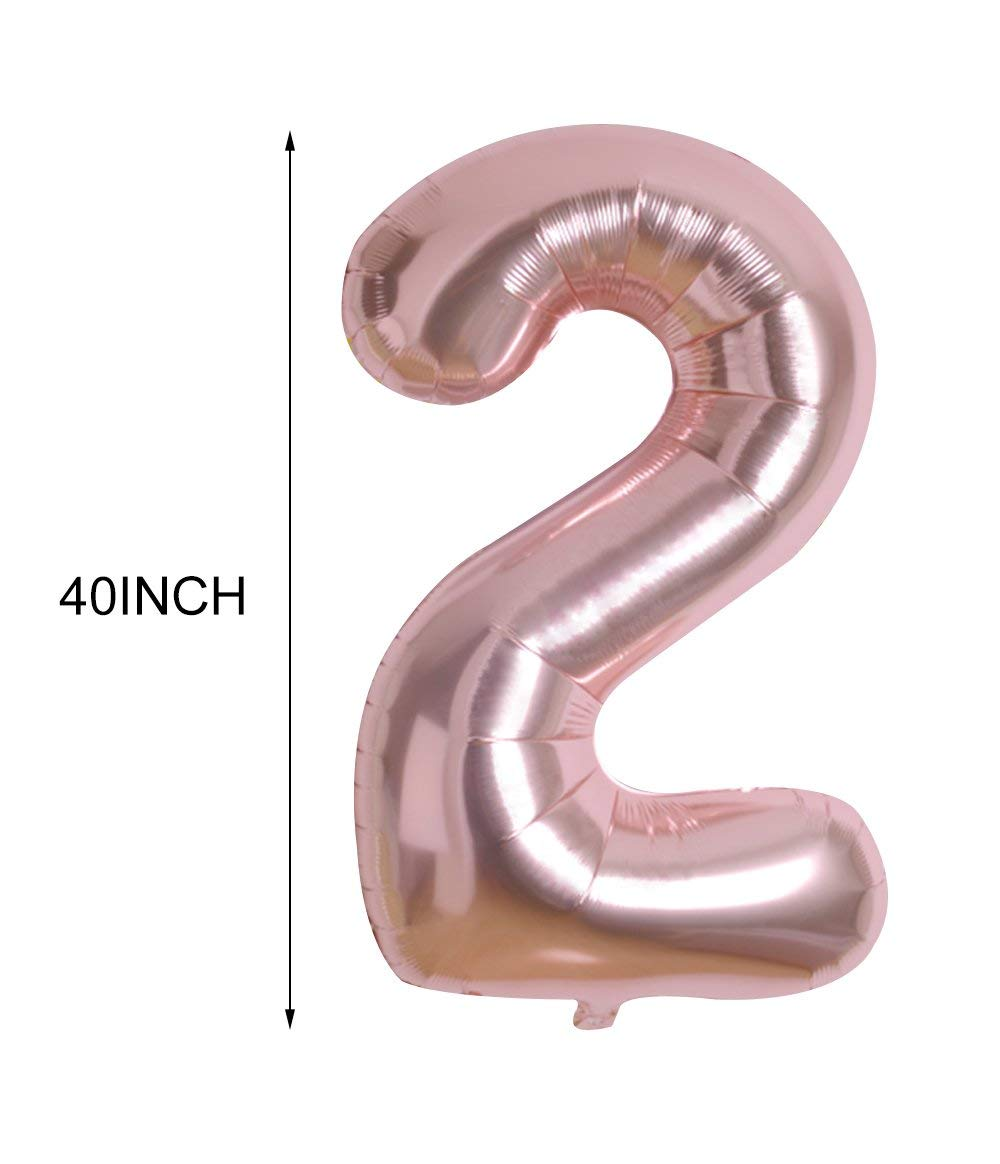 14 PCS Rose Gold Number 21 Foil Mylar Balloons Sets Birthday Party Decorations Party Supplies For Engagement Wedding