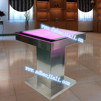 Modern Water Bubble Led Bar Table Acrylic Bar Furniture Used Light Glass  Top Square Table
