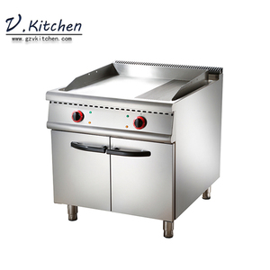 hotel restaurant kitchen stainless steel grill griddle with 2/3 smooth and 1/3 ribbed on cabinet electric griddle