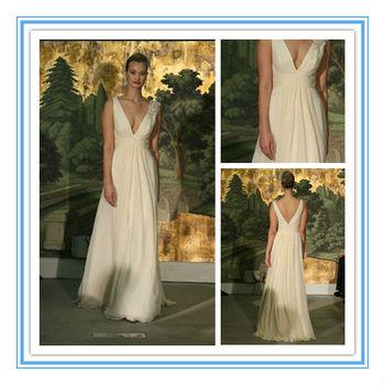 Latest Flowing Chiffon Beach Wedding Dress Ivory V-neck Wedding Gown ...