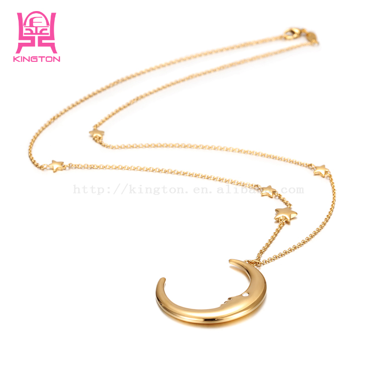 fashion gold moon and start shape pendant necklace NSSN423