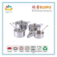 Home housewares Safty Gurantee 8Pcs stainless steel vision glass cookware decorative cooking pots calphalon cookware with ss