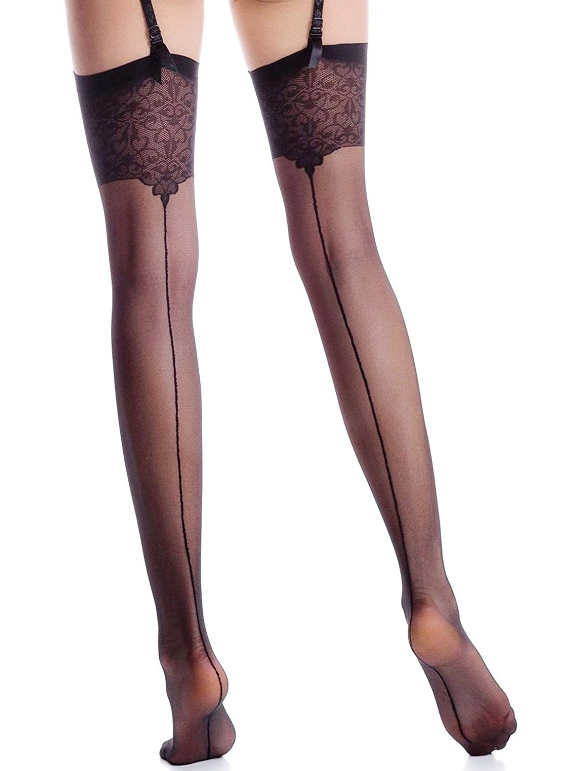 351511960 Get Quotations · Women s Patterned Top Thigh High Stockings for Garter Belt  Nylons