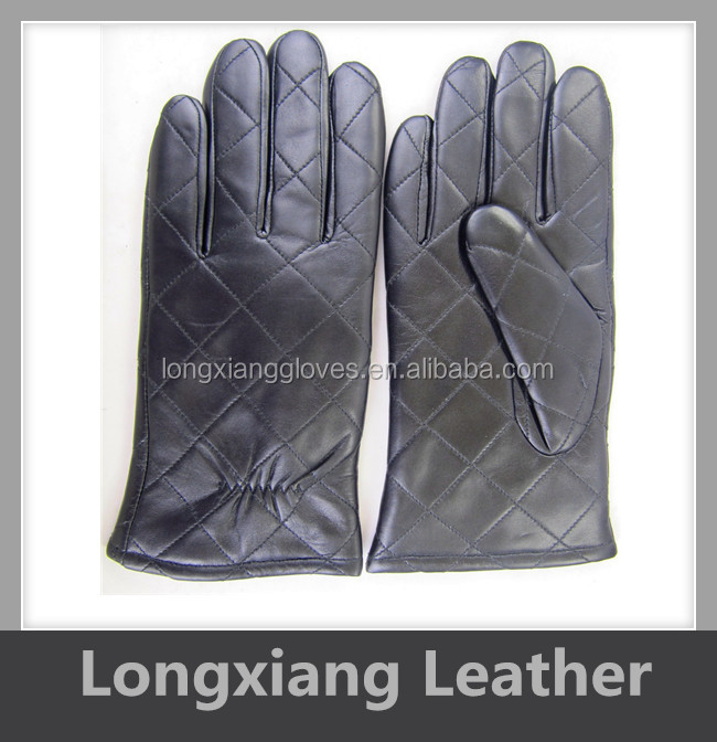 Black Color Cheap Price Custom QUILTED Men's Fine Sheepskin Leather Winter Gloves