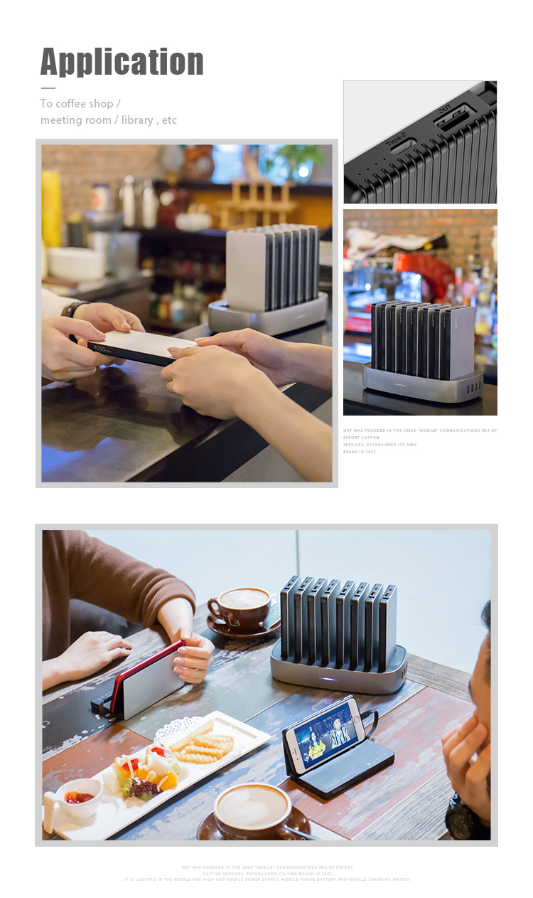 WST Multi cell phone restaurant power bank 8000mah built-in cable public mobile phone charging station