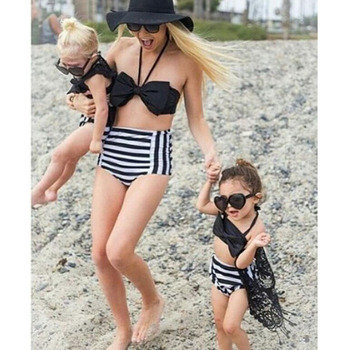c788627654 2017 Parent-child outfits european black swimwear sexy mommy and me  swimming bikini