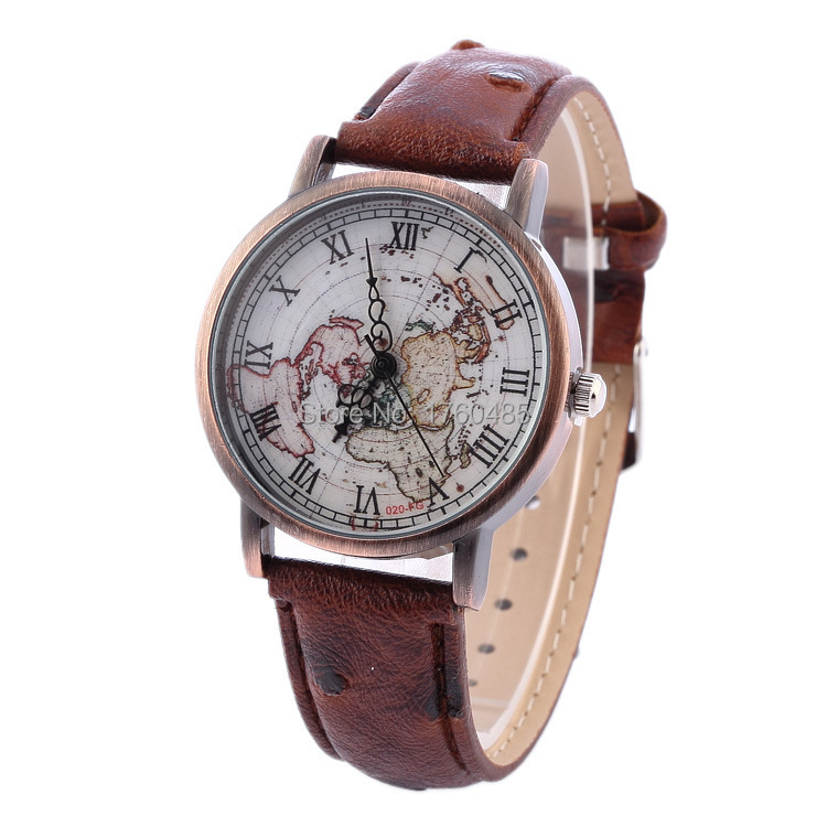 Vintage style leather strap quartz watches Roma alloy case map dress wristwatches good quality women clock relogio feminino