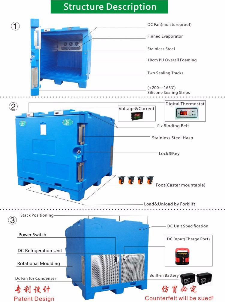 Cooler Box Freezing Transportation Bin Commercial Mobile