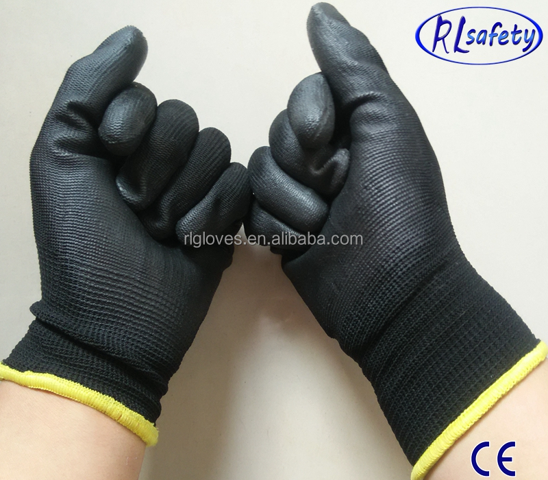 2016 new design Cheap Price 13G black PU Work Palm Coated ,working <strong>gloves</strong>,Workplace