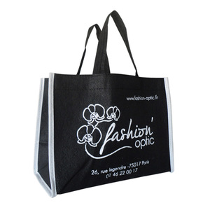 China Factory Personalized Black Handled Cloth Packing PP Non Woven Bag with White Printing
