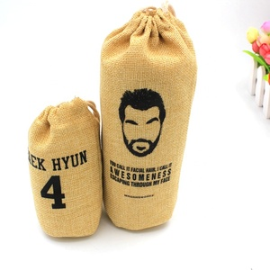 Custom logo Printed Round bottom Jute Drawstring burlap jewelry bags pouch for sale