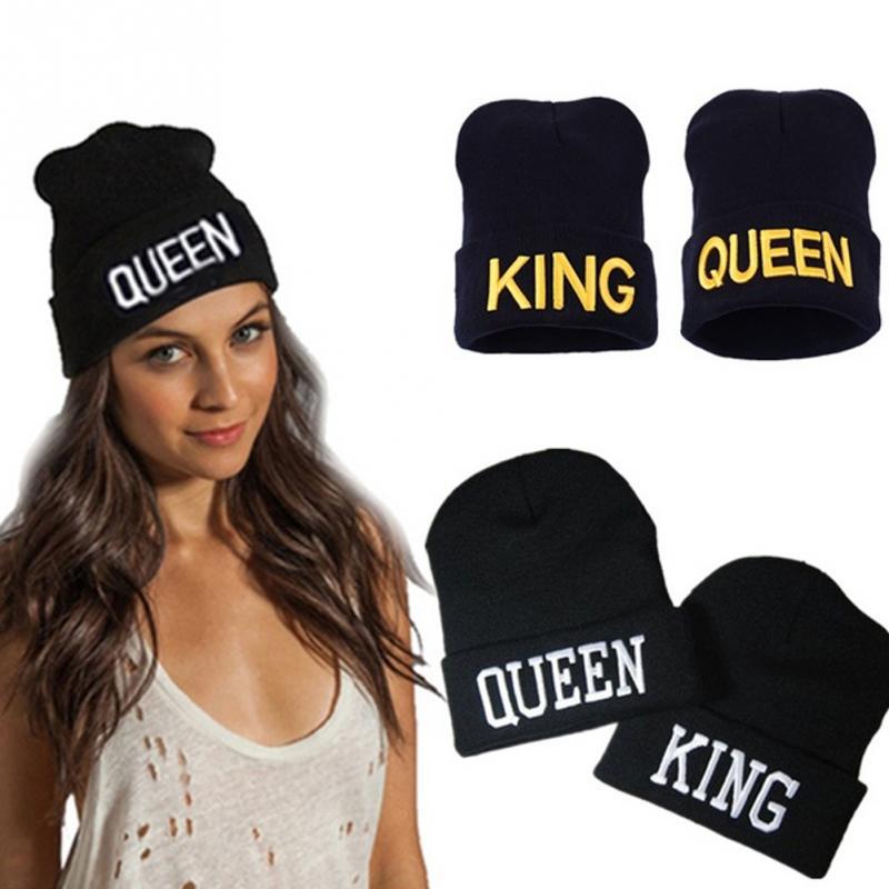 ultima collezione autorizzazione nuovo stile KING / QUEEN Cappello Cappelli invernali Coppia Bonnet Hip Hop Vendita  calda per uomo donna caldo berretto a maglia con cappuccio