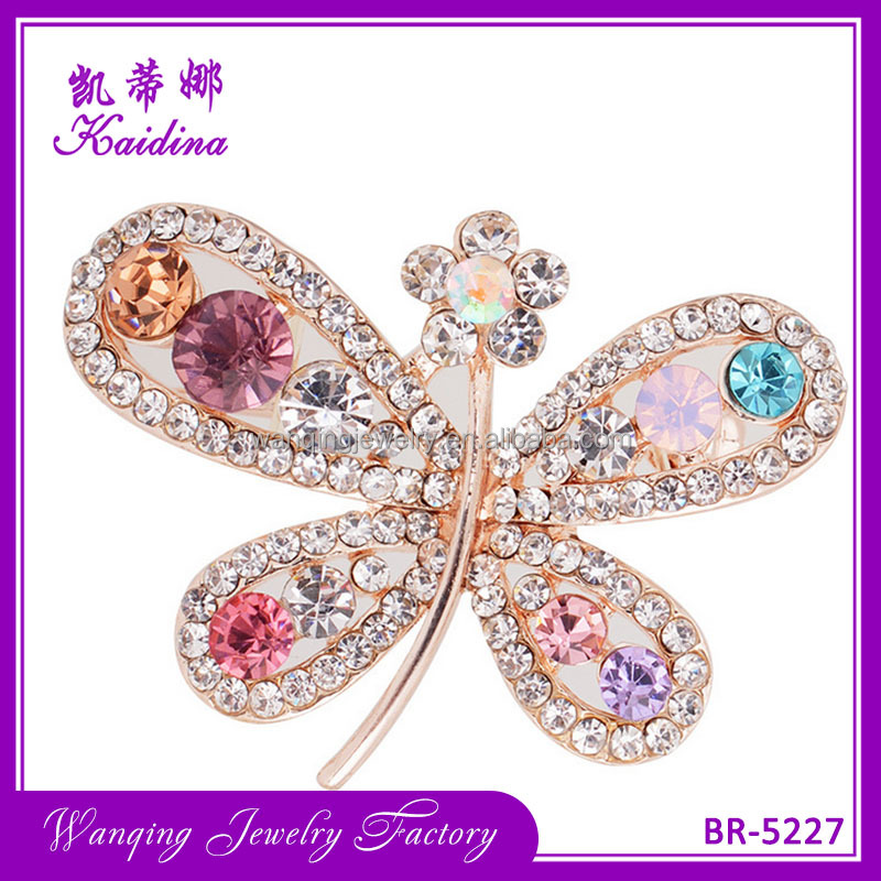 Wedding bridal metal rhinestone flower custom crystal brooch Animal style Butterfly