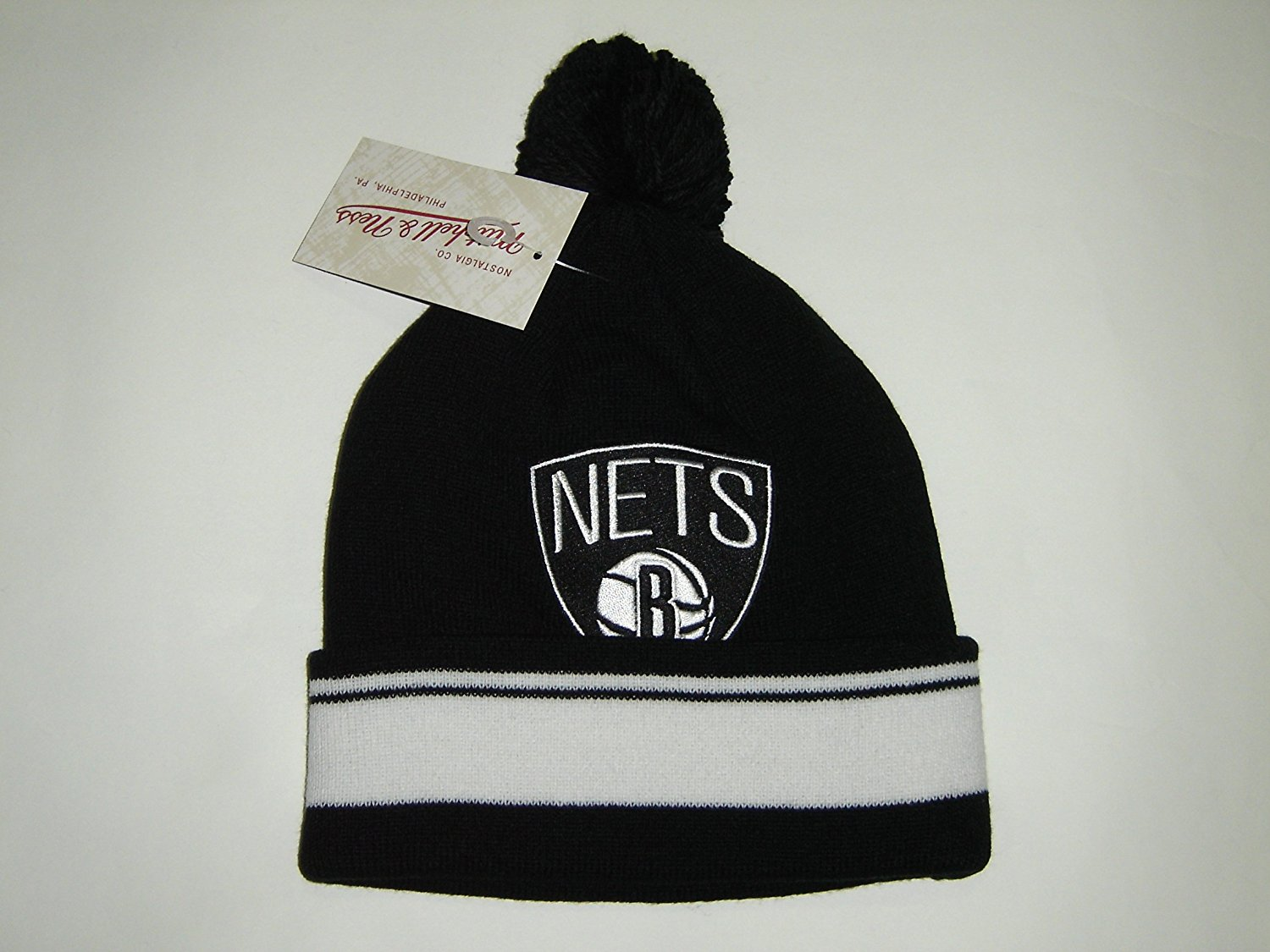 official photos 79488 74d42 Get Quotations · Mitchell and Ness NBA Nets Logo Beanie Cuffed Premium Knit  Hat w  Pom