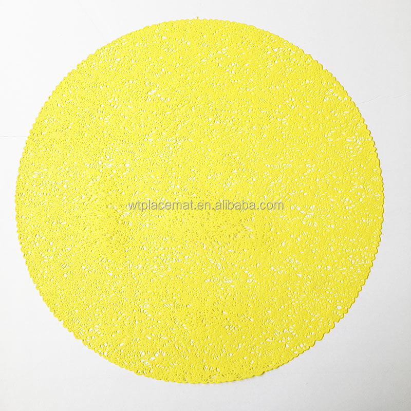 hollow shape decorate cup mat /Dining Table Placemats in Yellow Color Round Kitchen PVC Mats