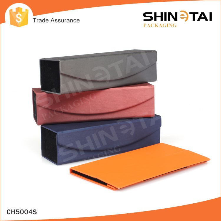 PU leather Handmade Hard Rectangle foldable glasses case