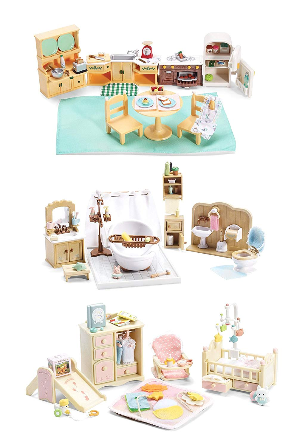 Calico Critters of Cloverleaf Corners Furniture Bundle – Deluxe Bathroom Set with Baby's Nursery Set and Kozy Kitchen Set – Build Skills with Imaginative Play
