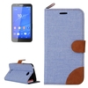 Paypal Accepted Cheap Denim Texture Wallet Flip Leather Case for Sony Xperia E4 Cover