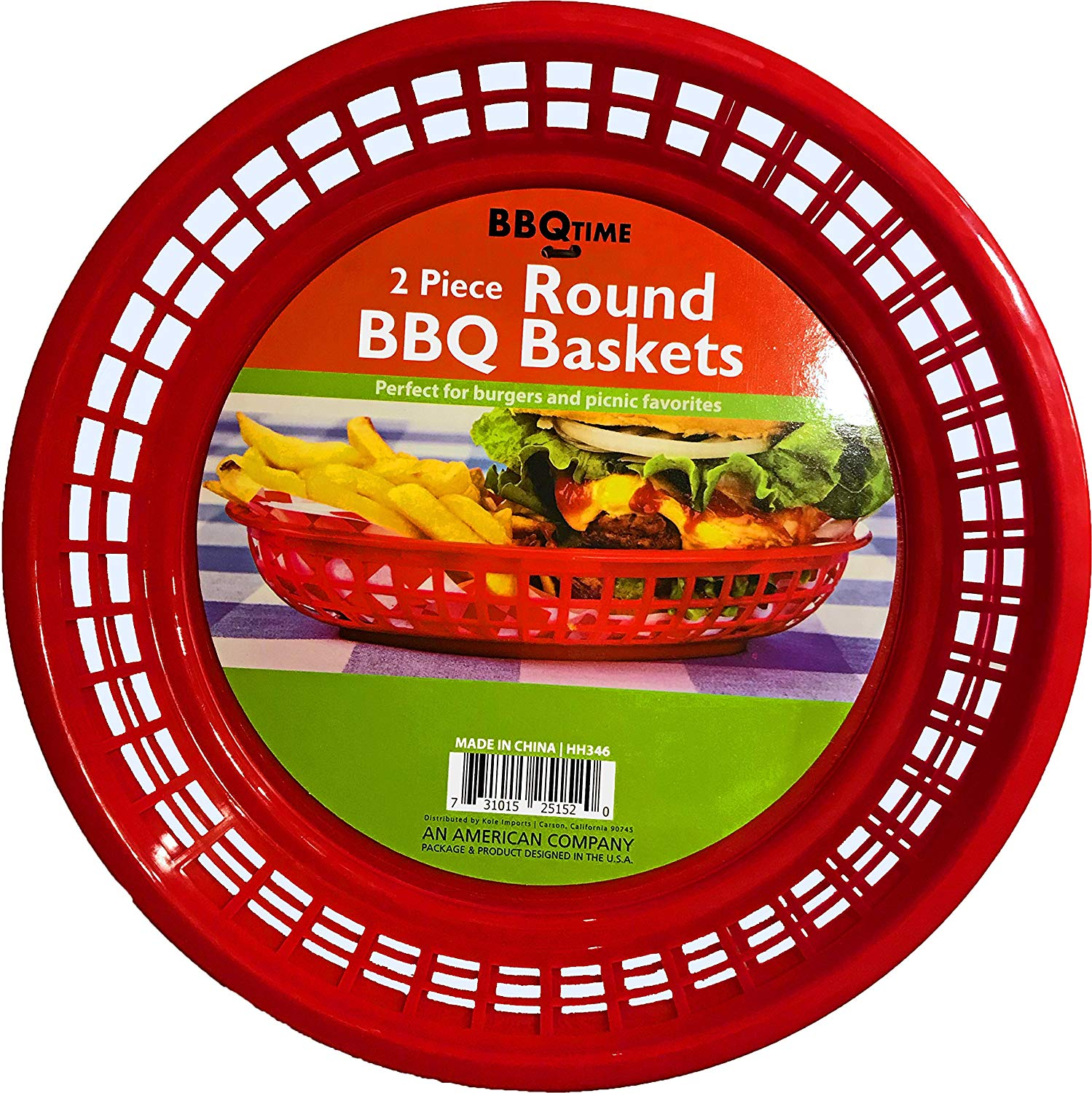 Black Duck Brand 9.5-Inch Round Plastic BPA Free BBQ Food Burger Restaurant Picnic Food Baskets (Red; 20 Baskets)