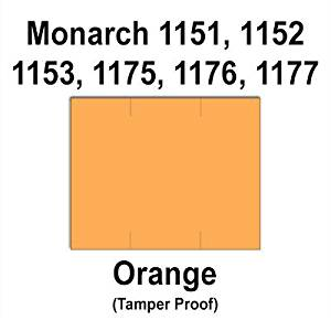 96,000 Monarch 1151 compatible Orange General Purpose Labels to fit the Monarch 1151, 1152, 1153, 1175, 1176, 1177, 1180 & 1515 Price Guns. Full Case + includes 16 ink rollers.