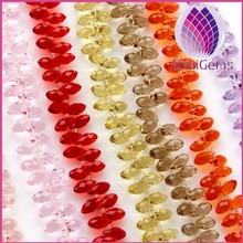wholesale factory price mix color 6x12mm faceted teardrop crystal glass beads