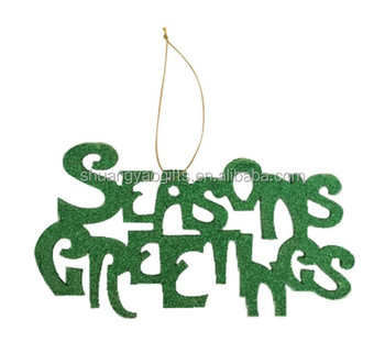 Wooden christmas seasons greetings words letter hanging ornaments wooden christmas quotseasons greetingsquot words letter hanging ornaments with glitter xmas gifts for m4hsunfo