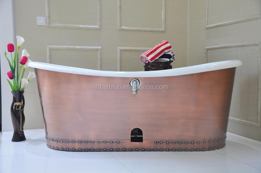 Hand Made Copper Skirted Freestanding Cast Iron Bathtub/ Cheap ...