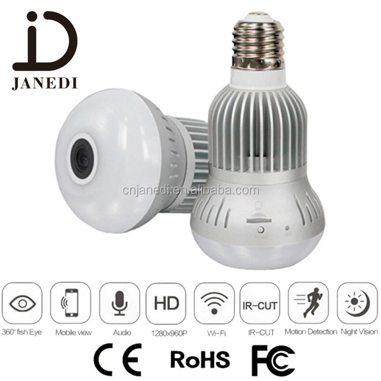 360 degree panoramic wifi wireless hidden ip 1280*1080P camera bulb light with night vision dvr security VR camera bulb camera