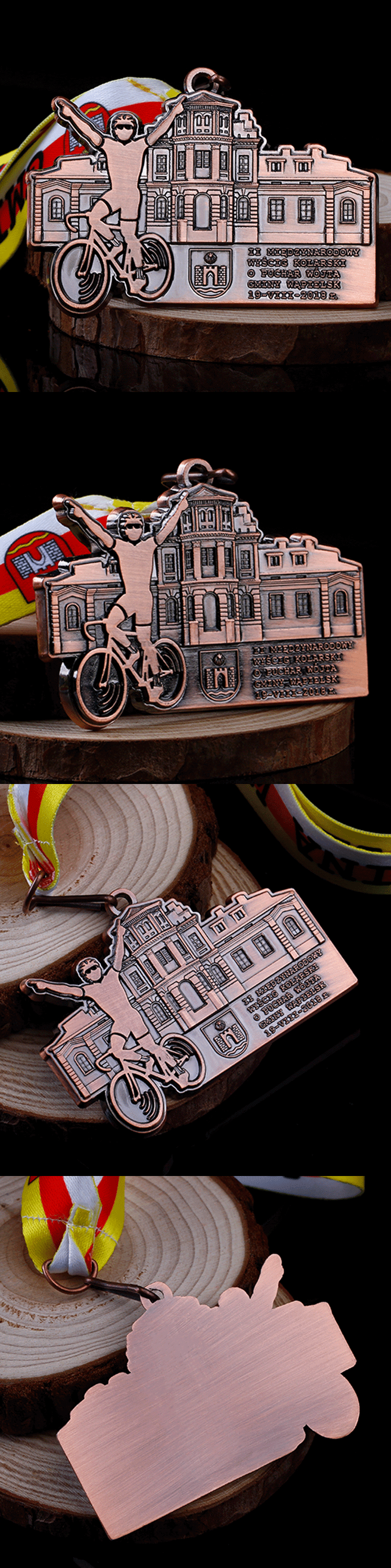 Promotion die cut 3D antique bronze metal cycling challenge medals