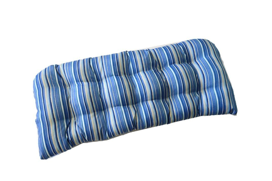 Indoor / Outdoor Tufted Cushion for Wicker Loveseat Settee - Sapphire Blue, Tan Stripe