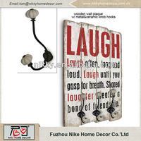 """LAUGH"" theme decorative wall plaques,wood wall plaque with hooks"