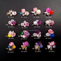 fashion 3d nail art decoration accessories shiny nail rhinestones alloy flowers bowknot nail charms