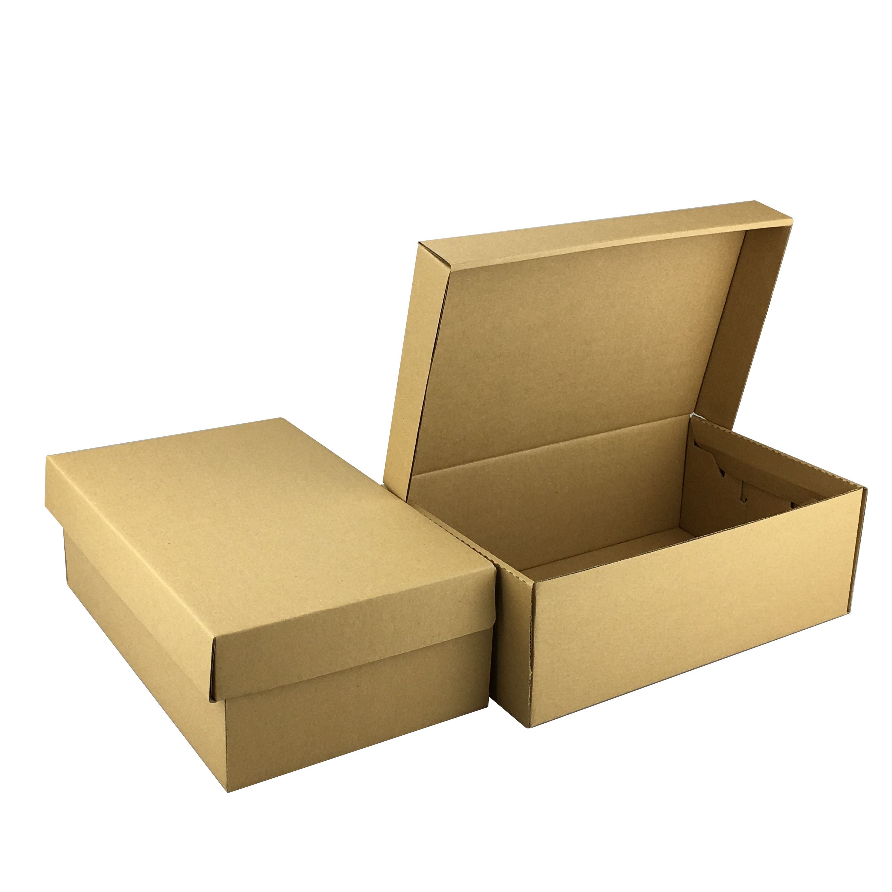 Manufacture In stock hot sell custom Packing carton Kraft paper Corrugated board flip storage shoe <strong>boxes</strong>