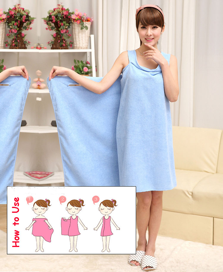 Cheapest nice-looking fast absorb water dual use slip bath towel skirt