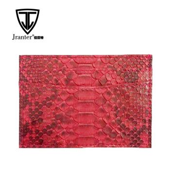 python snakeskin leather card holder wallet, real leather credit card holder with custom color