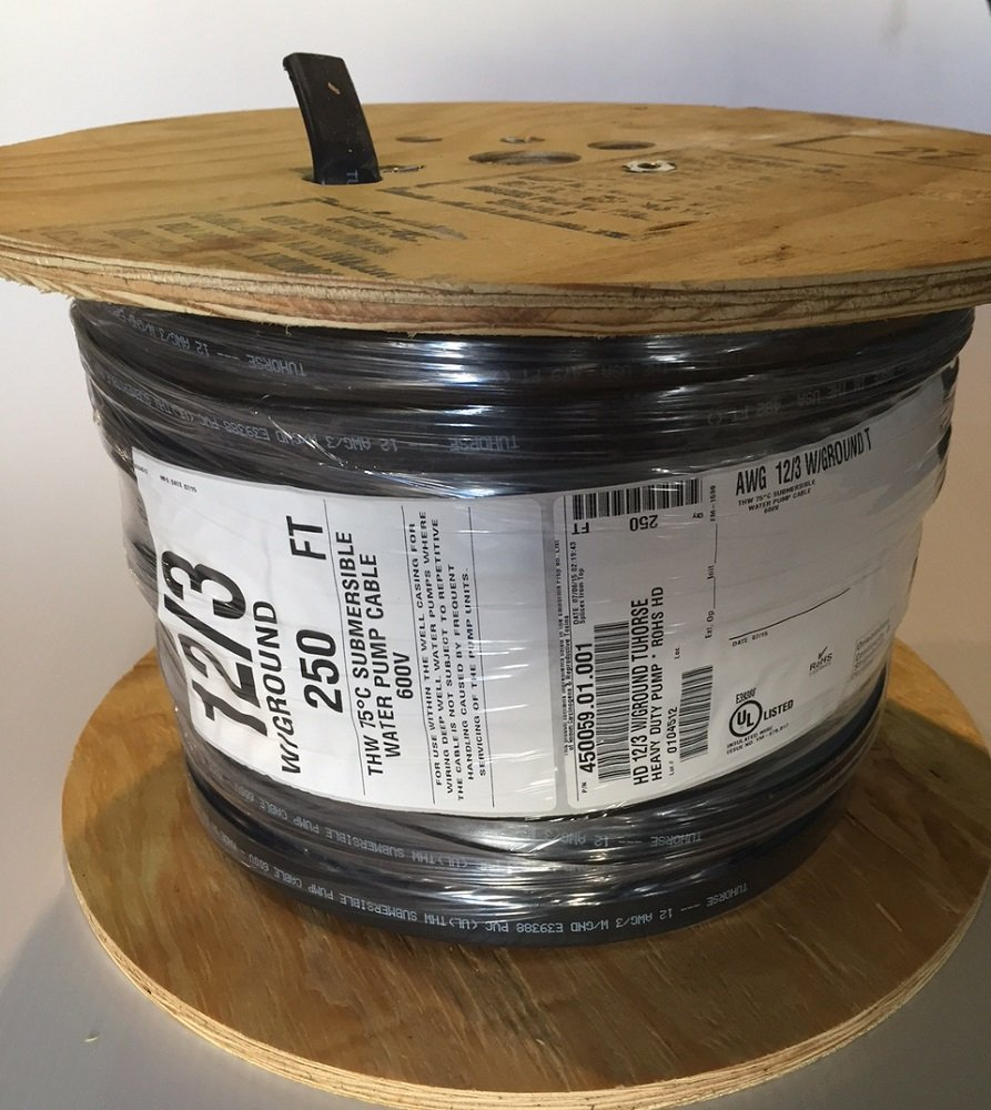 250 feet 12/3 w/ ground, flat HD copper submersible pump cable, stranded 3-wire + 1-ground, jacketed, UL listed