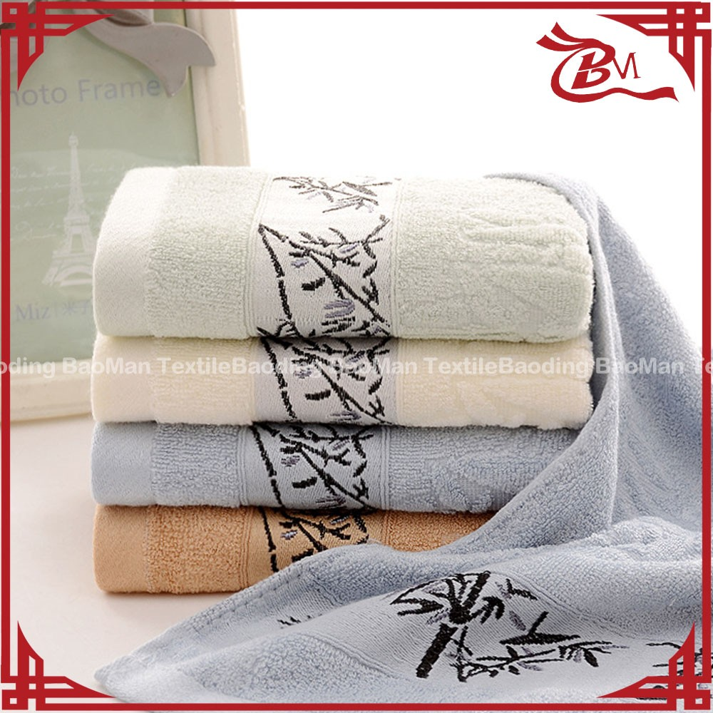 100% cotton border bamboo pattern plain dyed hotel towel