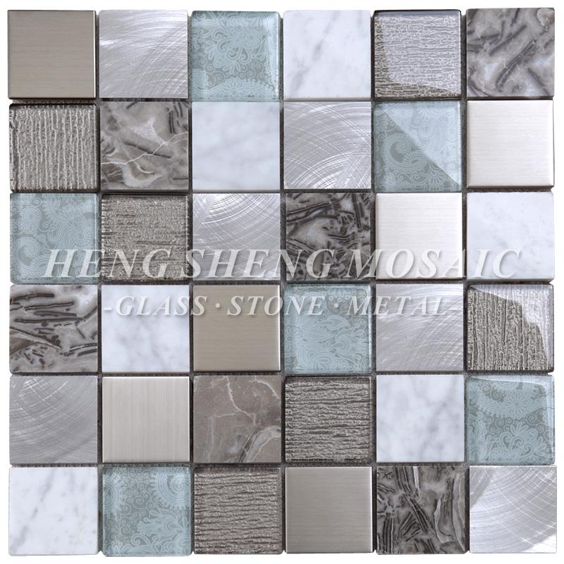 Latest Design Aluminum Metal Mixed Marble Glass Mosaic Tile For Kitchen  Backsplash Walls - Buy Kitchen Tile,Marble Tile,Backsplash Tile Product on  ...