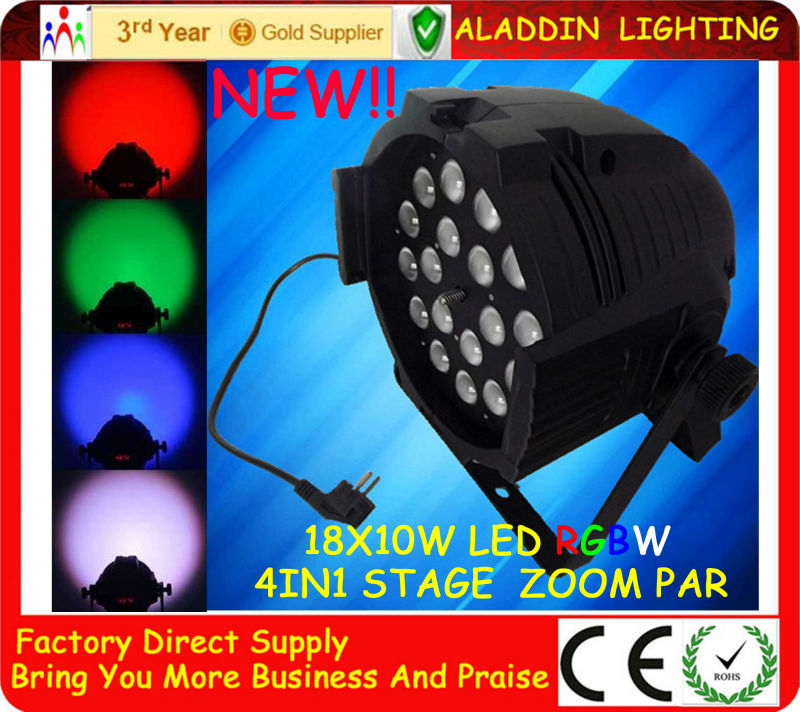 18 x 10w RGBW LED Zoom Par Can PAR 64 LED 10w DJ Light stage