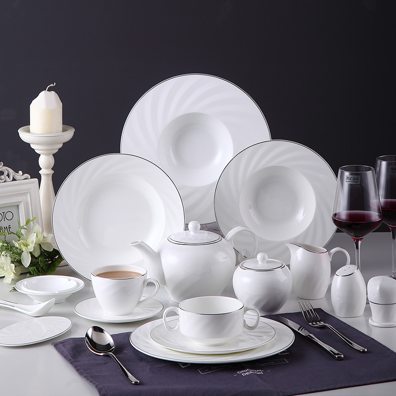 Großhandel Keramik Dinner Table Set / Plate / chinesische Geschirr / Hotel Bone China Dinner Set