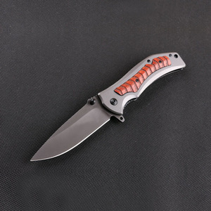 440 stainless steel assisted opening pocket knife with wood inlay handle made in China