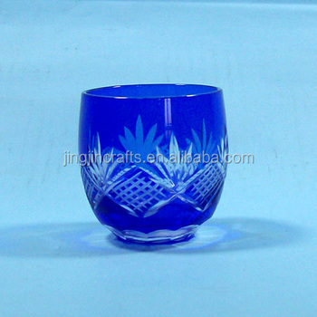 High quality custom cobalt blue colored hand engraved drinking glass Japanese sake cups