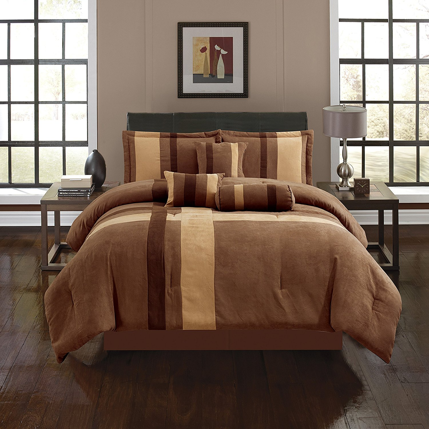 Empire Home Brown & Taupe Cross 7 Piece Solid Suede Soft Comforter Set (Queen Size)