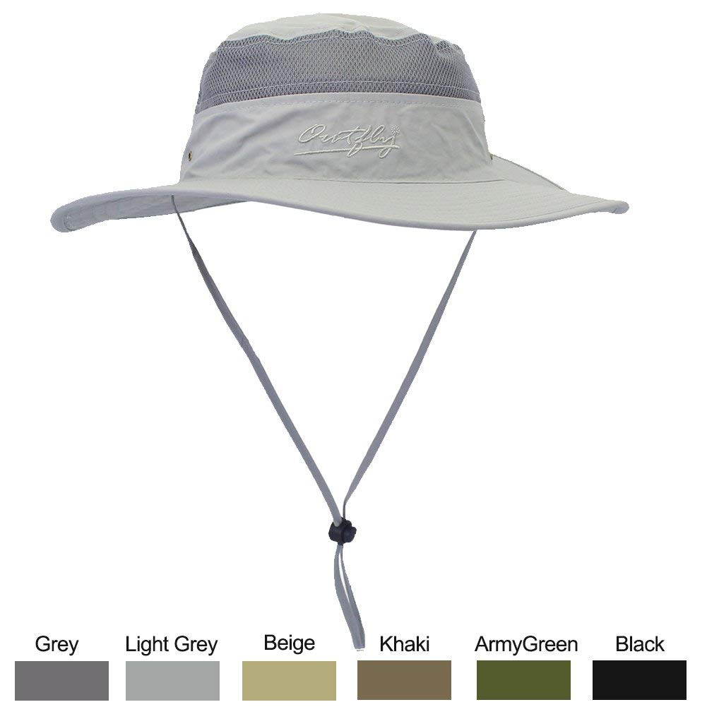 WELKOOM Sun Hat for Men Women, Wide Brim UPF 50 UV Protection Beach Cap, Breathable Outdoor Boonie Hats with Adjustable Drawstring Design, Perfect for Hiking, Fishing, Camping, Boating Safari